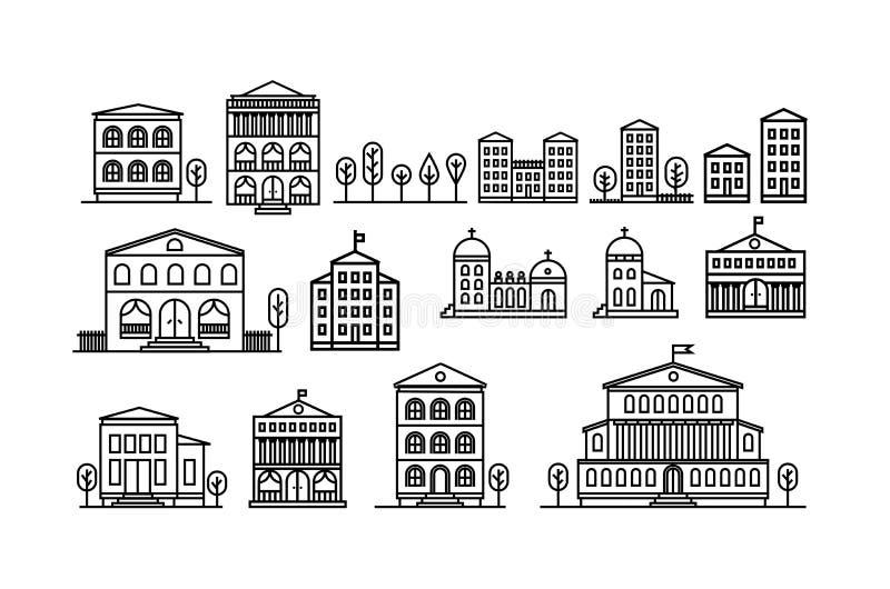 Fije de iconos urbanos y suburbanos de las casas Ilustración del vector ilustración del vector