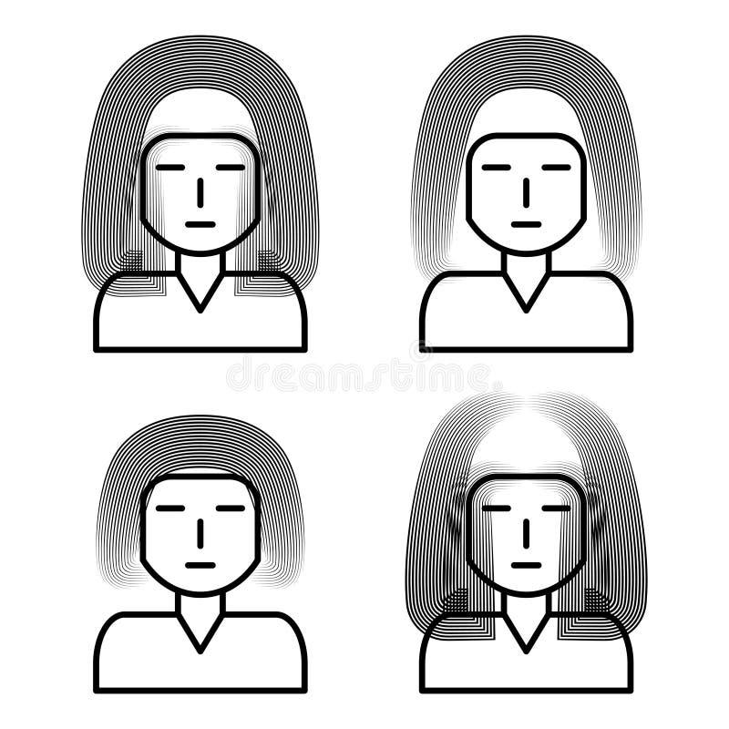 Fije de imágenes de las muchachas para los iconos, de los avatares o del logotipo ilustración del vector