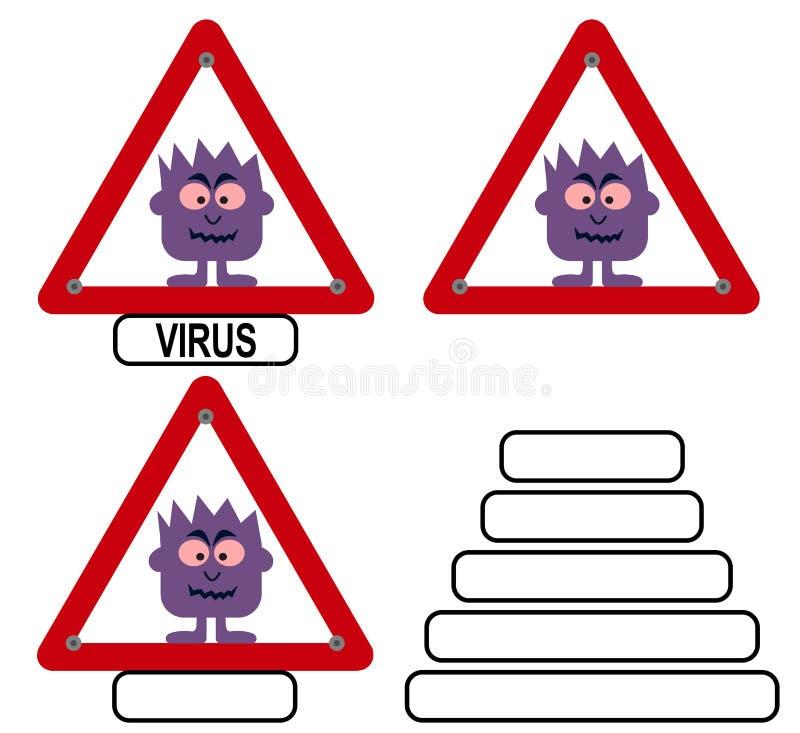 Fije de imágenes de una infección del virus con las bacterias en muestra roja del peligro stock de ilustración