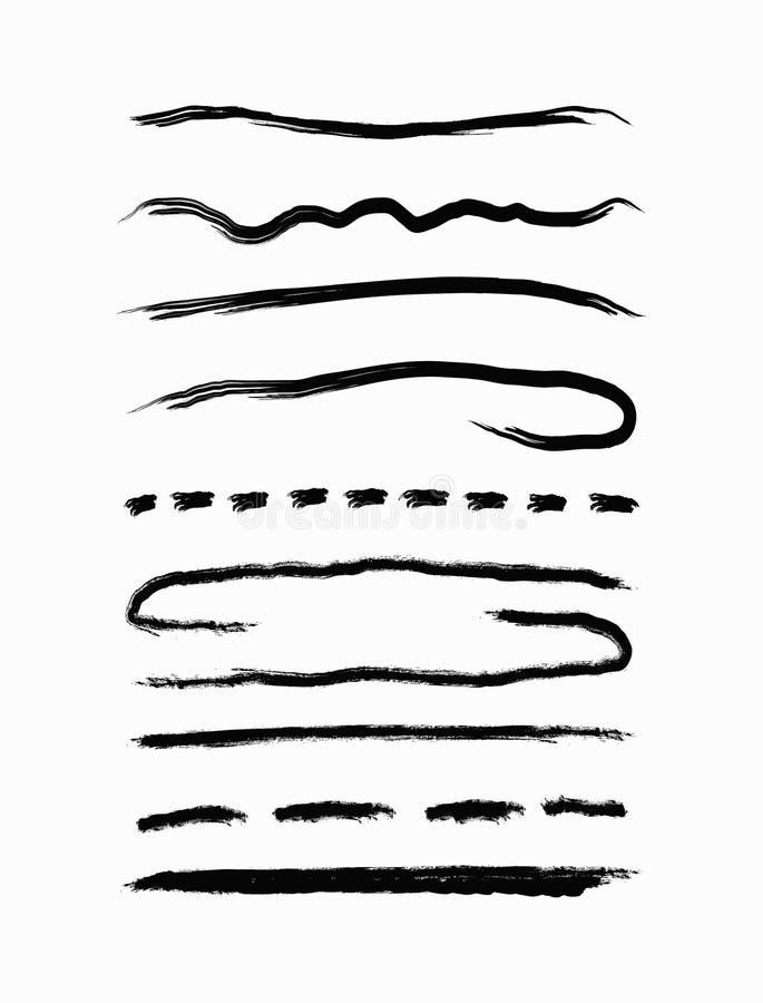 Fije de líneas negras del grunge Raya dibujada a mano con un cepillo áspero Bosquejo, pintura, watercolour, tinta ilustración del vector