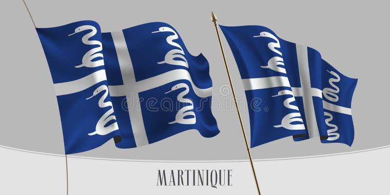 Fije de la bandera que agita de Martinica en el ejemplo aislado del vector del fondo ilustración del vector
