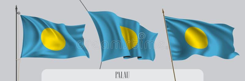 Fije de la bandera que agita de Palau en el ejemplo aislado del vector del fondo libre illustration