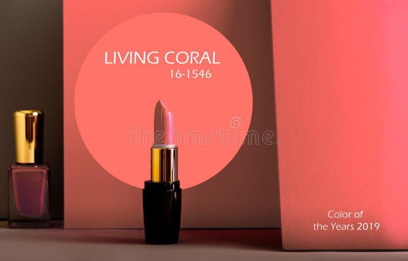 Fije de la barra de labios y del esmalte de uñas, en fondo coloreado moderno imagen de archivo