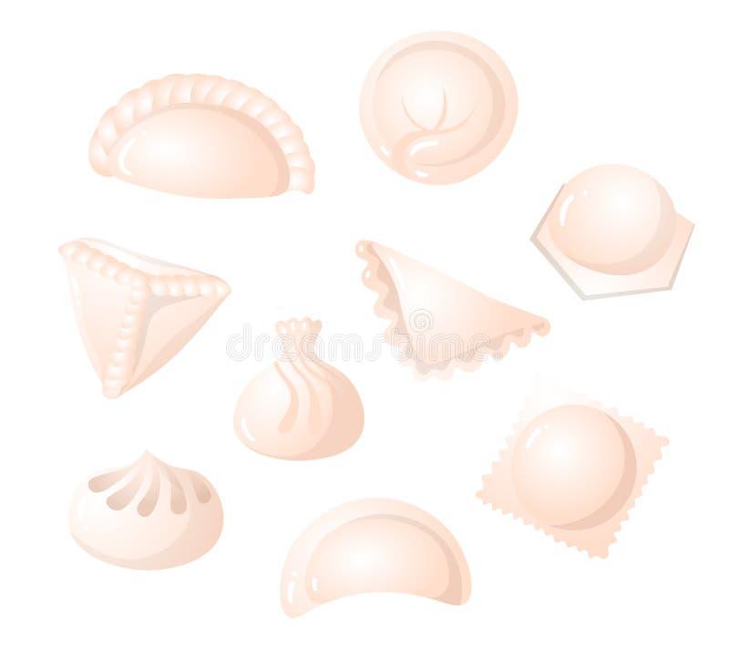 Fije de la bola de masa hervida hecha en casa sabrosa con diversa comida interior ilustración del vector