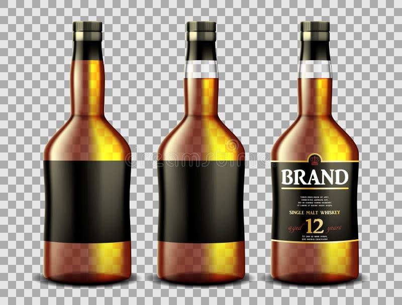 Fije de la botella de vidrio del whisky, del ron, del borbón o del coñac con alcohol y fuera Las botellas transparentes beben en  ilustración del vector