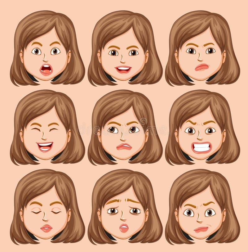 Fije de la cabeza de la muchacha con diversa expresión facial ilustración del vector