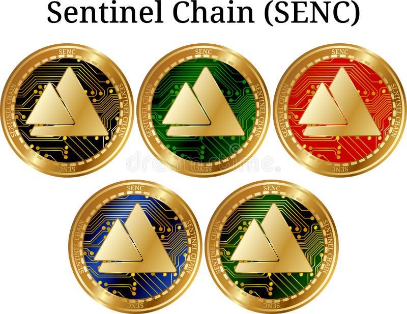 Fije de la cadena de oro física del centinela de la moneda (SENC) ilustración del vector