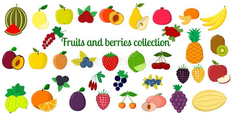 Fije de la colección de las frutas y de las bayas, sistema mega del icono de cuarenta y seis elementos en el fondo blanco Para su stock de ilustración