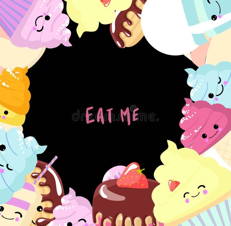Fije de la comida del kawaii - los dulces o los postres en el fondo blanco, caracteres lindos para la impresi?n, tarjetas Buñuelo libre illustration