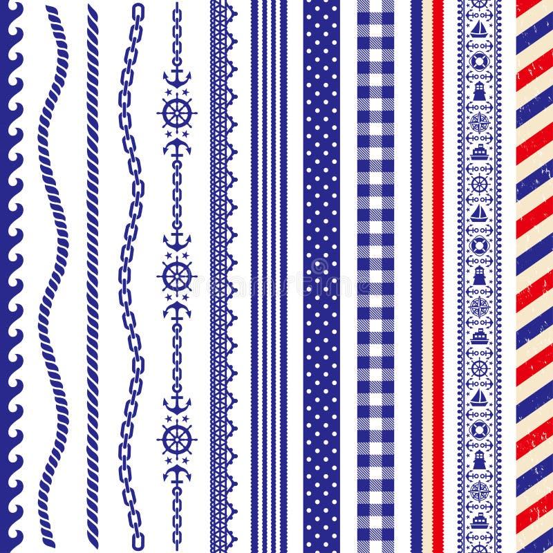 Fije de la decoración marina: punto, frontera, raya, onda ilustración del vector