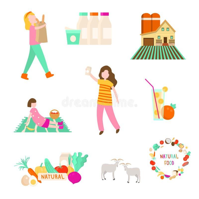 Fije de la diversa comida o producto agrícola natural del eco ilustración del vector
