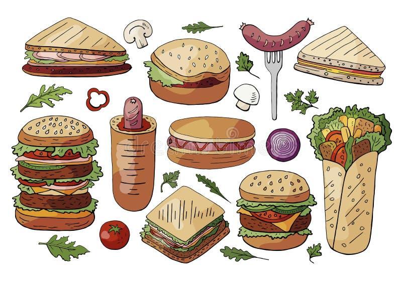 Fije de la diversos comida, bocadillos y de las hamburguesas de la calle aislados en el fondo blanco Colección exhausta de las ha ilustración del vector