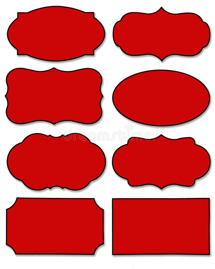 Fije de la etiqueta roja con diversa forma aislada en el fondo blanco libre illustration