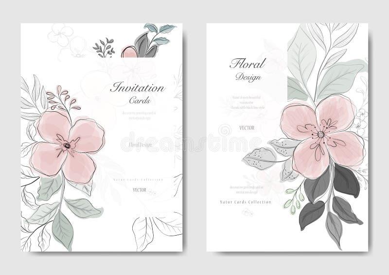 Fije de la flor rosada con el linecard negro stock de ilustración