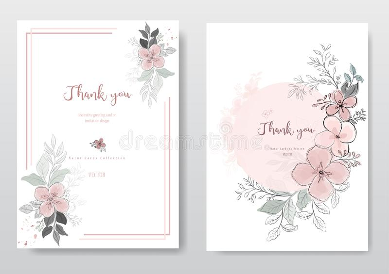 Fije de la flor rosada hermosa con el linecard negro libre illustration