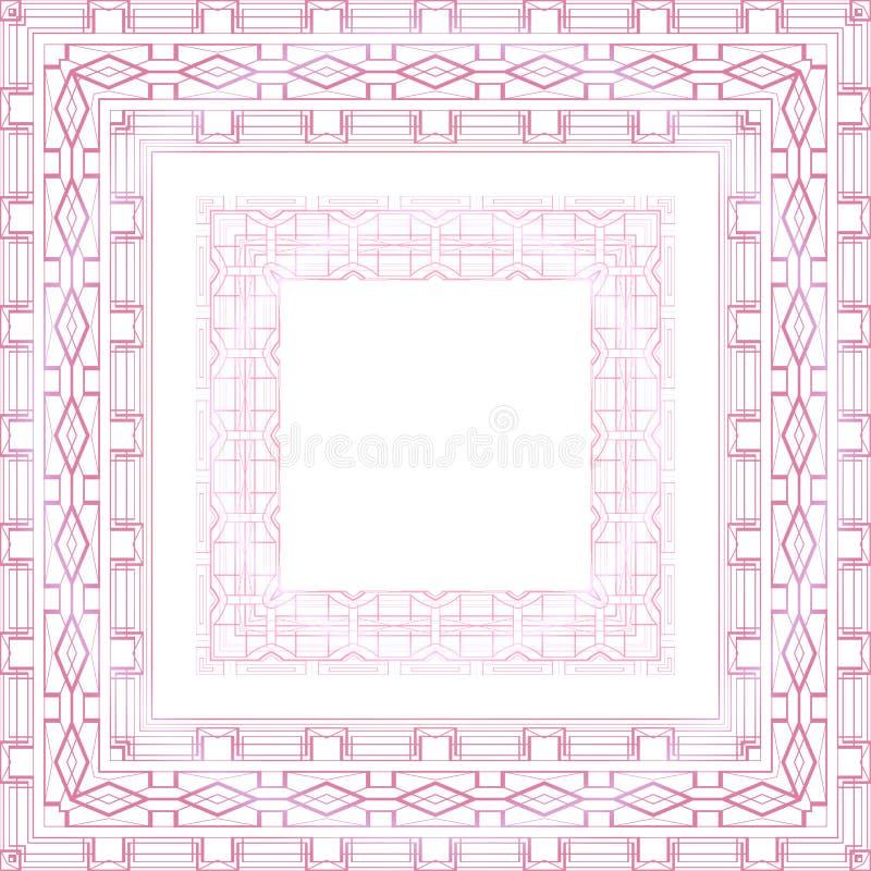 Fije de la frontera rosada delicada con el modelo del boho Marco geom?trico en el fondo blanco Plantilla del cord?n del vector libre illustration