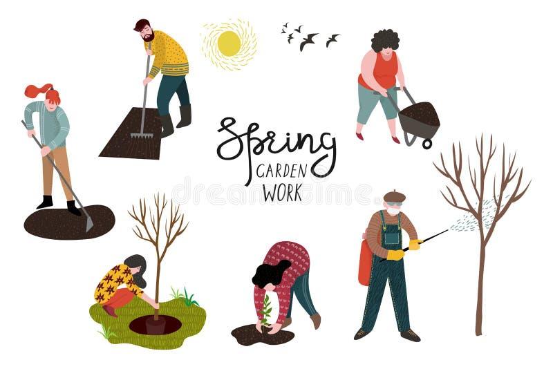 Fije de la gente aislada que trabaja en el jardín sobre el establecimiento, desarrollar la tierra y tratar árboles de parásitos V ilustración del vector