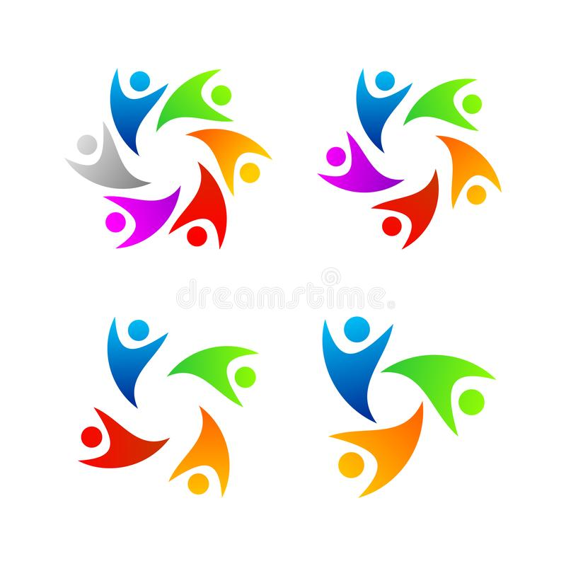 Fije de la gente a todo color Logo Template libre illustration