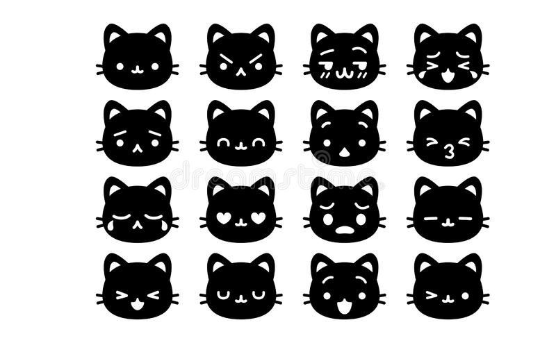 Fije de la historieta linda Cat Icons Isolated stock de ilustración