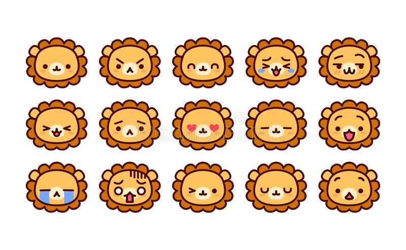 Fije de la historieta linda Lion Icons Isolated libre illustration