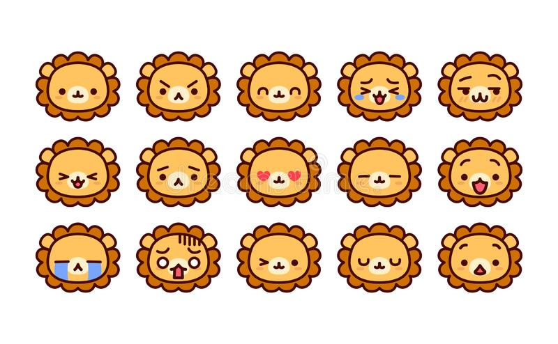 Fije de la historieta linda Lion Icons Isolated stock de ilustración