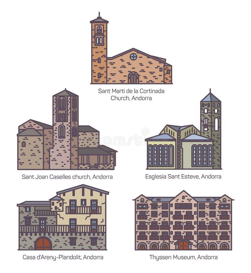 Fije de la iglesia y del castillo coloridos aislados de Andorra stock de ilustración