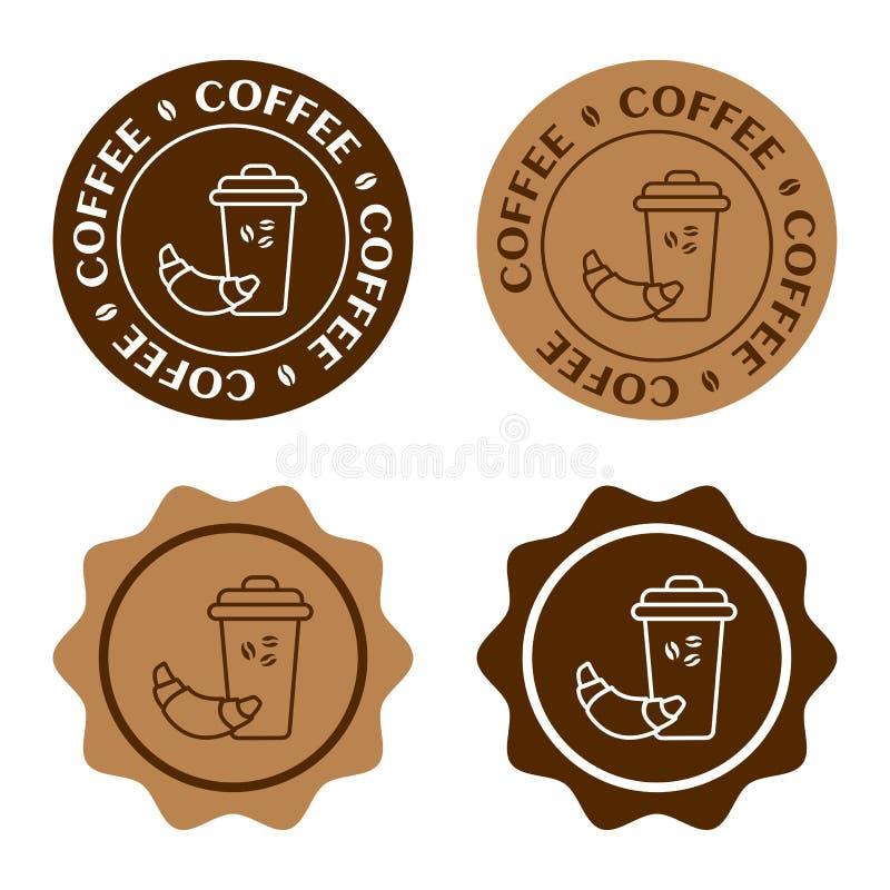 Fije de la insignia del café, etiquetas engomadas marrones redondas Vidrio de café con el cruasán Vector stock de ilustración