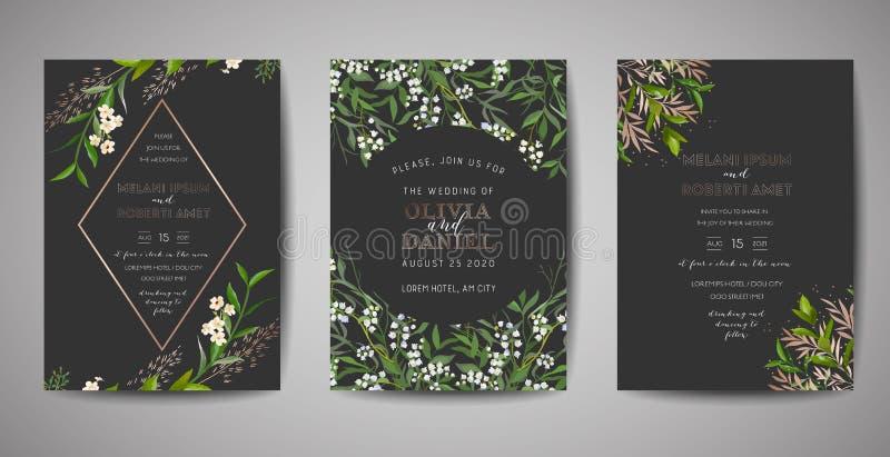 Fije de la invitación de la boda, floral invitan, gracias, diseño de tarjeta rústico del rsvp con la decoración de la hoja de oro ilustración del vector