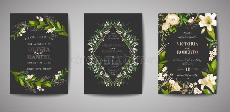 Fije de la invitación de la boda, floral invitan, gracias, diseño de tarjeta rústico del rsvp con la decoración de la hoja de oro stock de ilustración