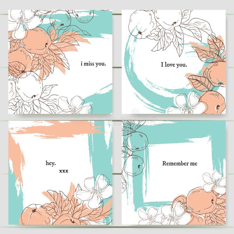 Fije de la invitación delicada del vector con las manzanas para casarse, matrimonio, nupcial, cumpleaños, el día de tarjeta del d stock de ilustración