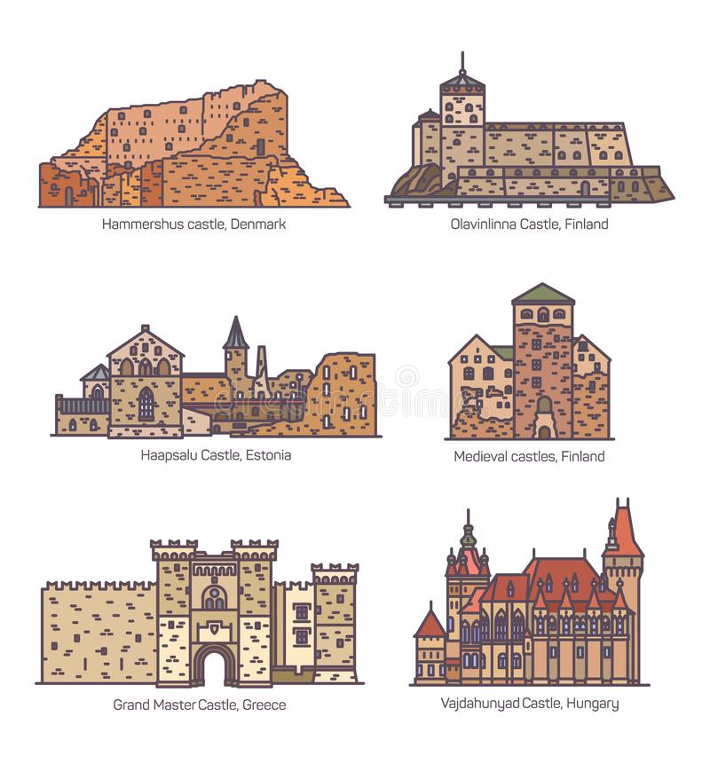 Fije de la línea aislada castillos y arquitectura stock de ilustración