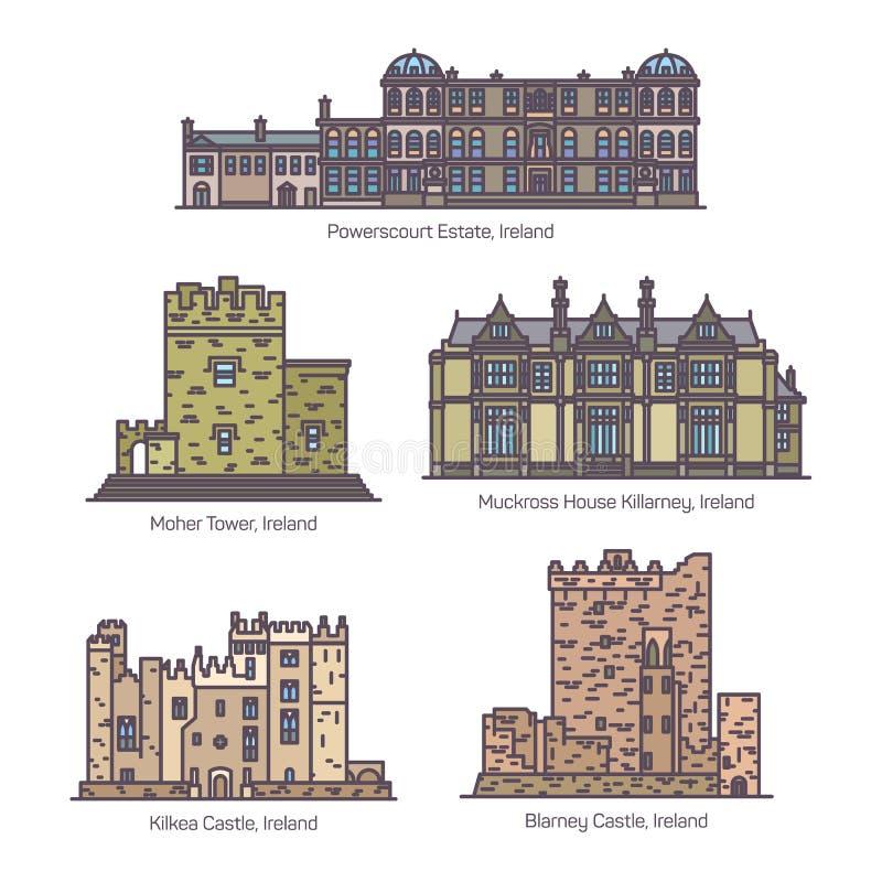 Fije de la línea edificios famosos aislados de Irlanda stock de ilustración