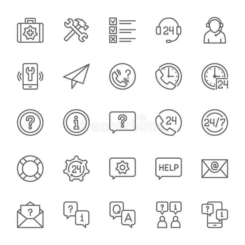 Fije de la línea iconos de la ayuda y de ayuda Centro de atención telefónica, mensaje de la charla, contacto y más ilustración del vector