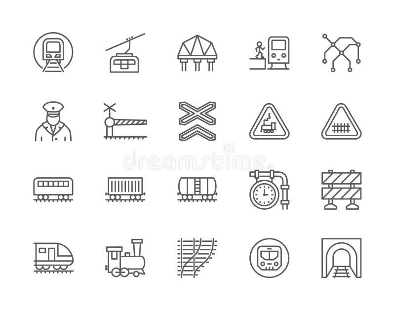 Fije de la línea iconos del tren y de ferrocarriles Mapa funicular, del subterráneo, locomotora y más ilustración del vector