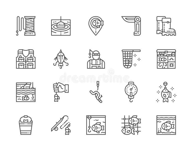 Fije de la línea iconos Navaja de bolsillo, pescador, caja de aparejos, acuario y más stock de ilustración
