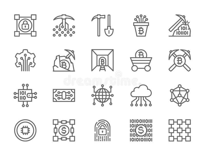 Fije de la l?nea iconos de la tecnolog?a de Blockchain Paquete de iconos del pixel 48x48 ilustración del vector