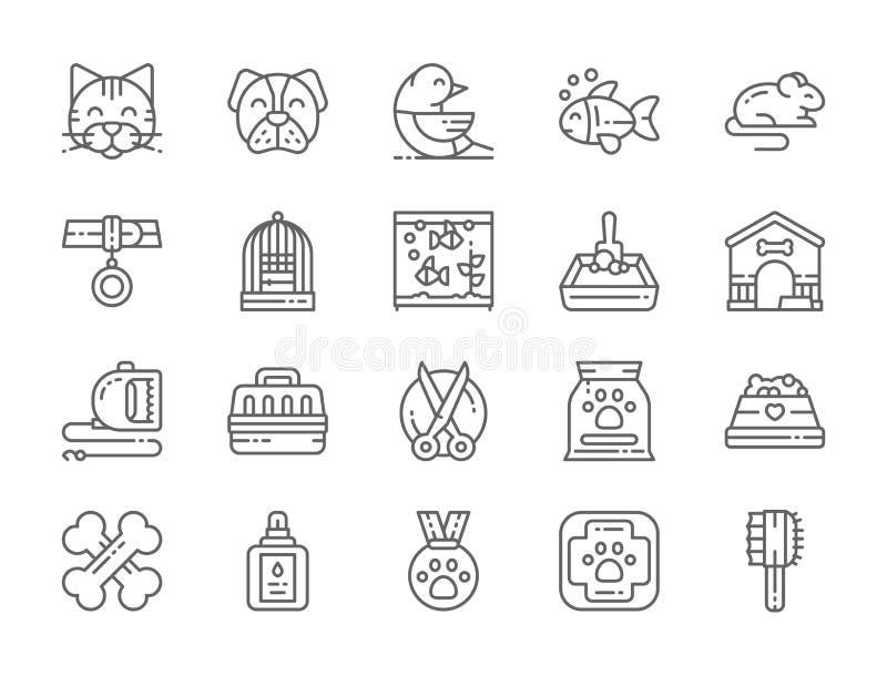 Fije de la línea iconos de la tienda de animales Gato, perro, pájaro, loro, pescado, ratón y más ilustración del vector