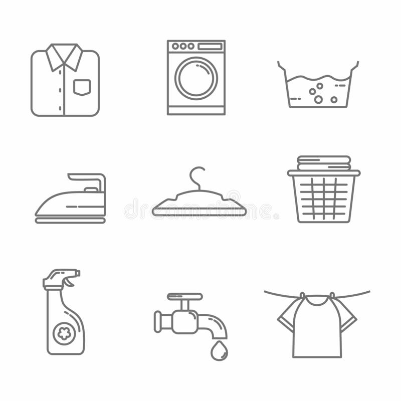 Fije de la línea relacionada diseño, ejemplo del icono del lavadero del vector del lavadero ilustración del vector