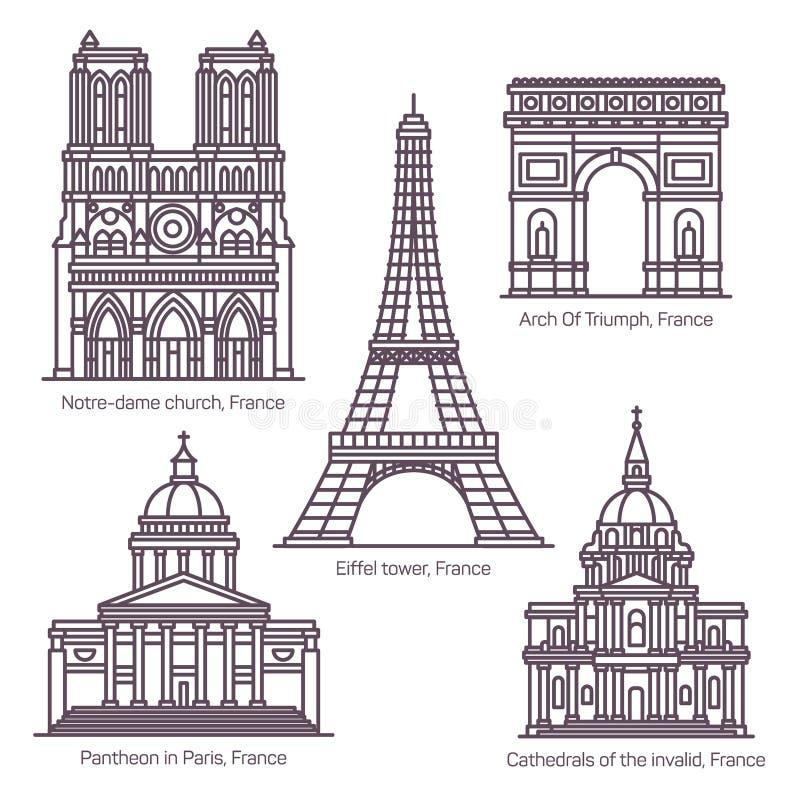 Fije de la línea señales de visita turístico de excursión francesas aisladas ilustración del vector