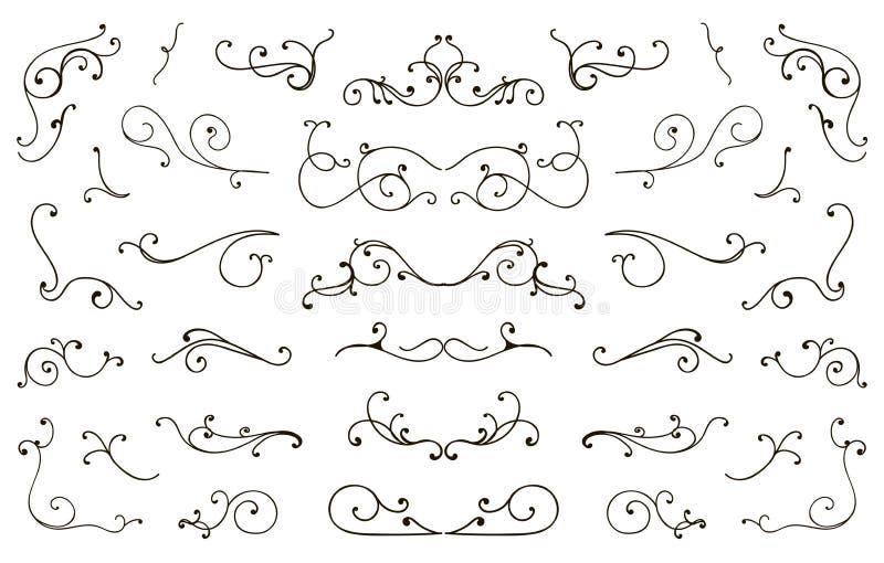 Fije de la mano dibujada prosperan los elementos, caligráfico diseñada vintage prospera libre illustration
