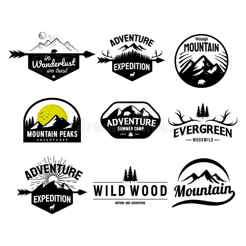 Fije de la montaña y de los diseños al aire libre del logotipo de las aventuras, estilo del vector del vintage libre illustration