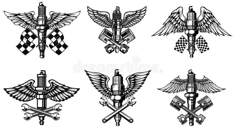 Fije de la motocicleta coa alas ilustración del vector