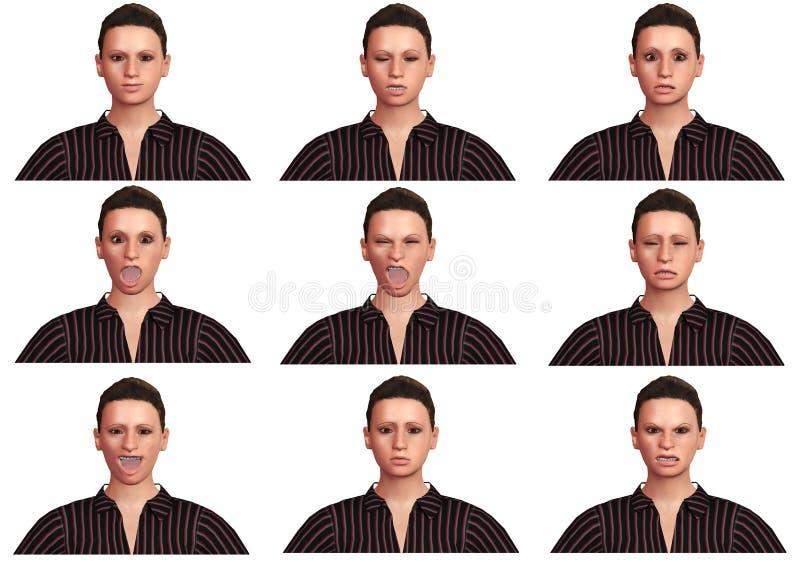 Fije de la mujer joven hermosa con expresiones faciales y diversas emociones aislada en el fondo blanco ilustración del vector