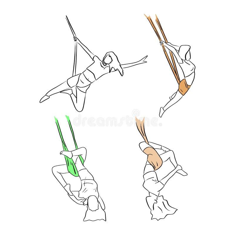 Fije de la mujer que hace garabato aéreo del bosquejo del ejemplo del vector de la yoga stock de ilustración