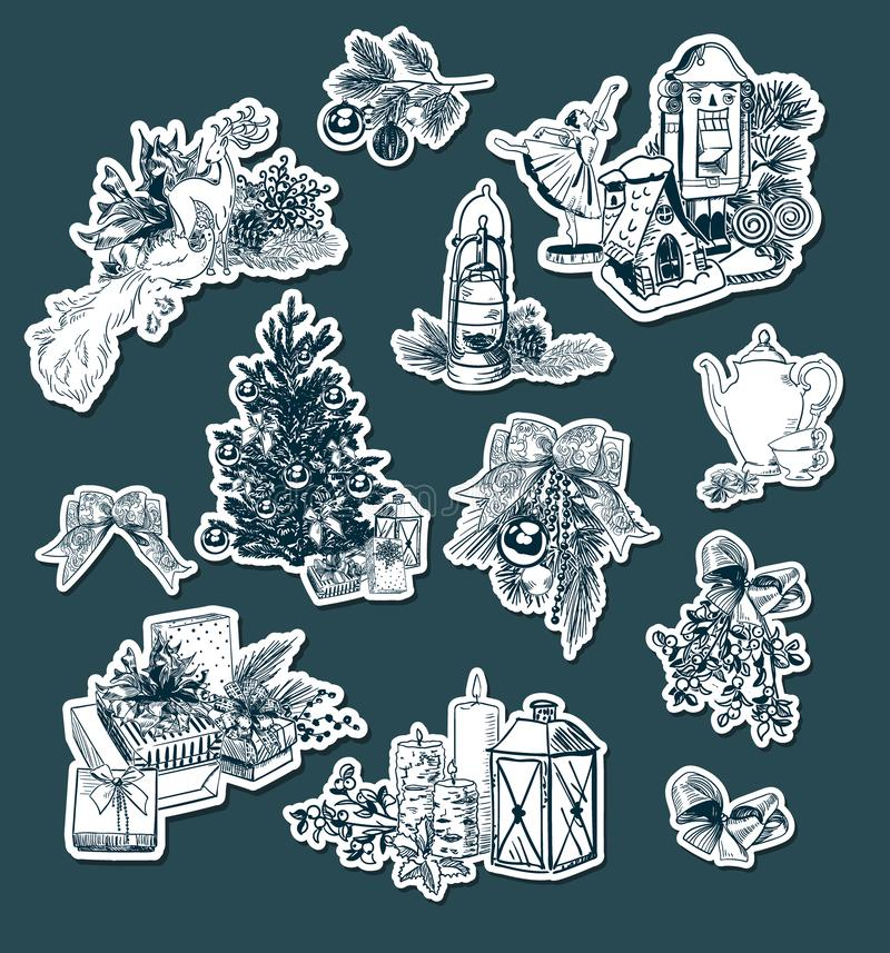 Fije de la Navidad retra elegante de las etiquetas engomadas del estilo que el Año Nuevo graba elementos del diseño del vector imagen de archivo libre de regalías