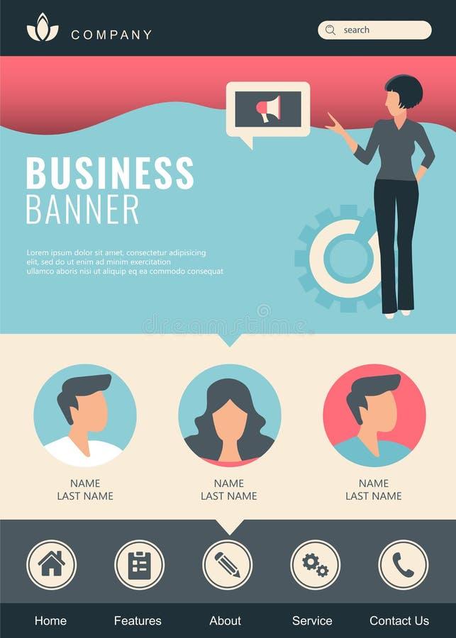Fije de la plantilla del diseño de la página web para los medios sociales, el márketing en línea y la comunicación Conceptos mode ilustración del vector
