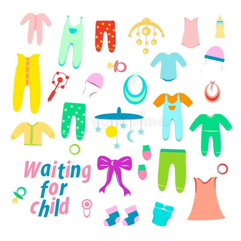 Fije de la ropa del bebé para los recién nacidos, los juguetes de los niños stock de ilustración