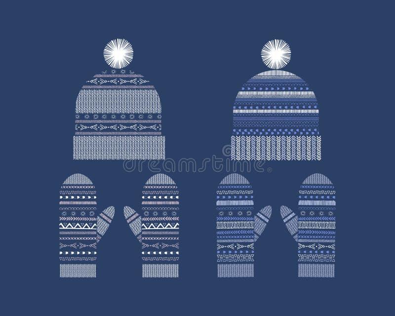 Fije de la ropa del invierno: sombreros hechos punto a mano y manoplas libre illustration