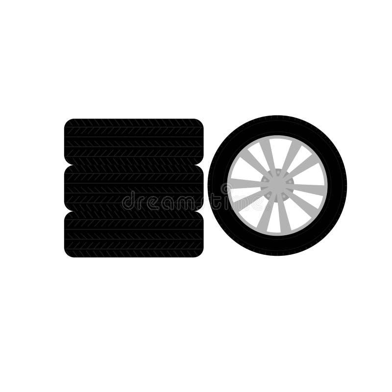 Fije de la rueda del frente y de neumáticos del icono lateral ilustración del vector