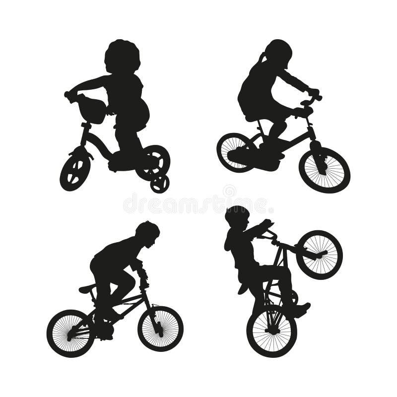 Fije de la silueta negra de niños en la bicicleta en el fondo blanco stock de ilustración